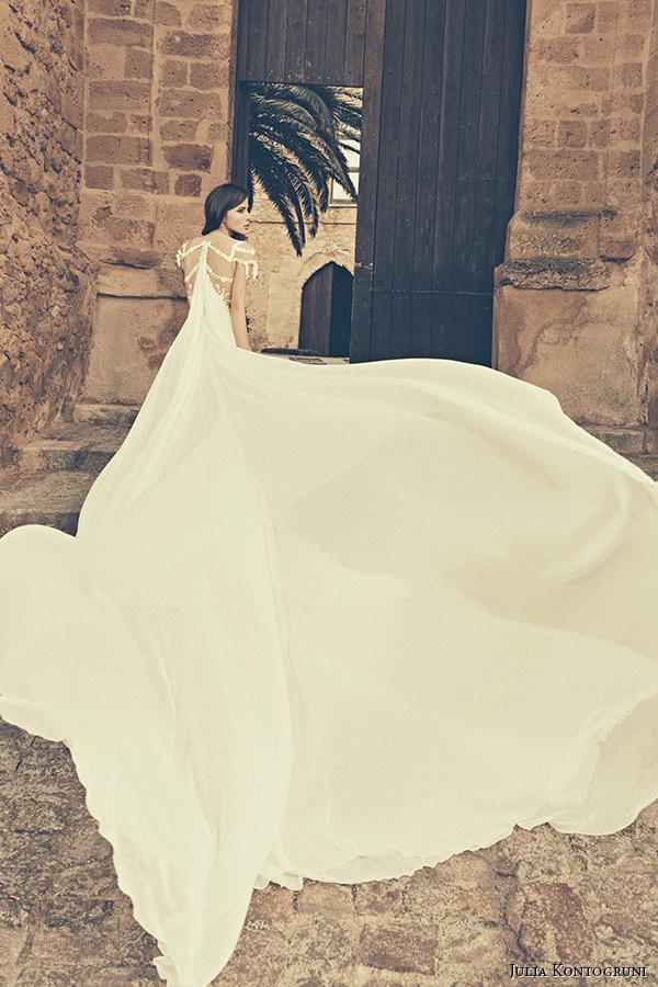 julia kontogruni bridal 2015 wedding dress jeweled strap cap sleeves plunging neckline watteau train back