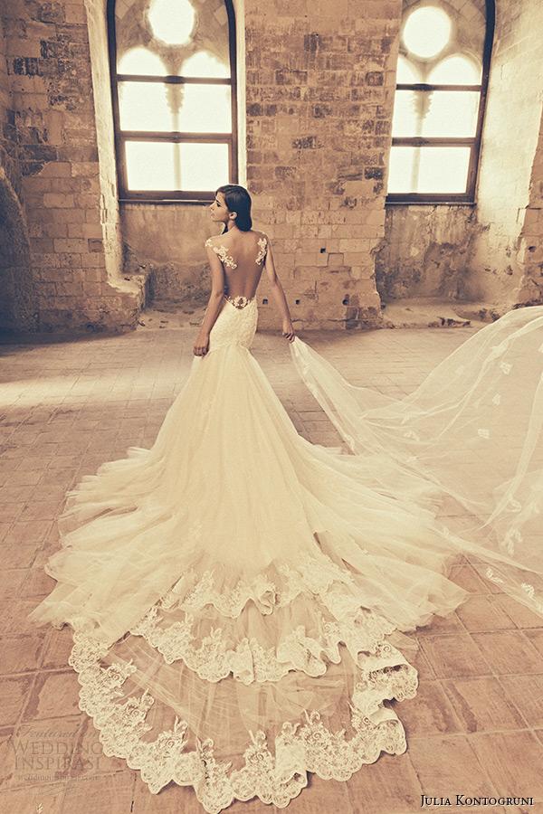 julia kontogruni bridal 2015 wedding dress jeweled strap sheer neckline low cut back mermaid gown cathedral train back