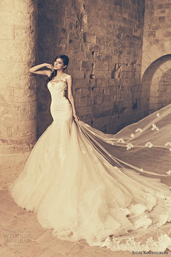 julia kontogruni bridal 2015 wedding dress jeweled strap sheer neckline mermaid gown