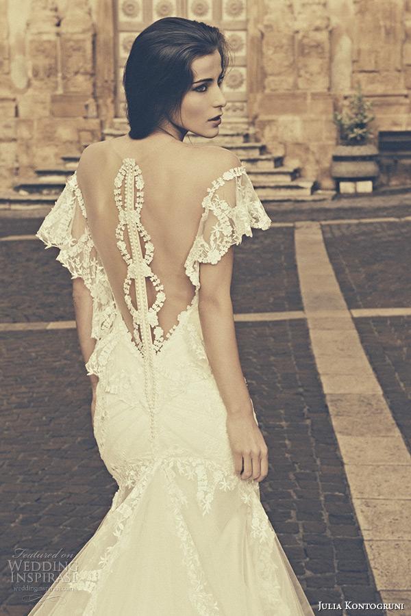 julia kontogruni bridal 2015 wedding dress lace flutter sleeves low cut back cathedral train gown back closeup