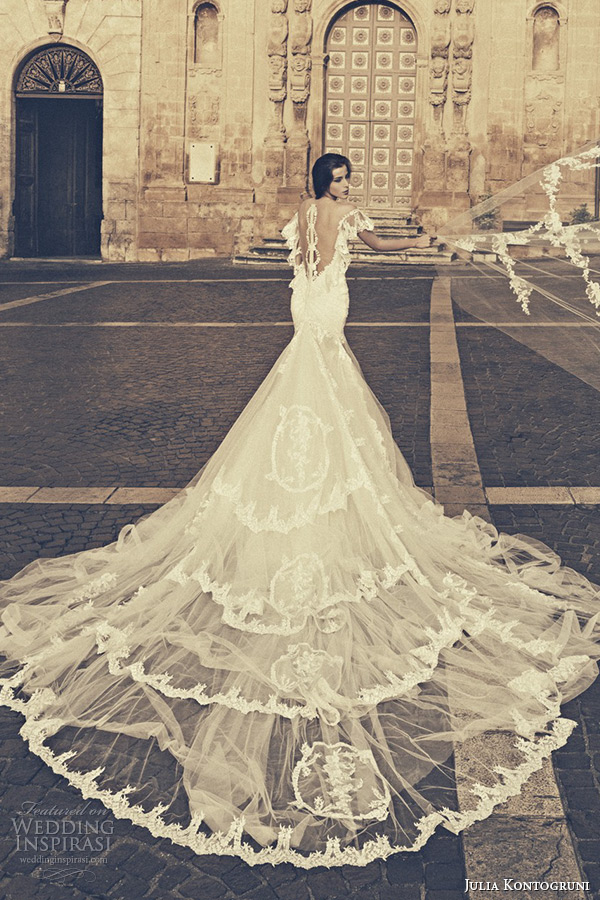 Julia Kontogruni Bridal 2015 Wedding Dress Lace Flutter Sleeves Low Cut Back Cathedral Train Gown
