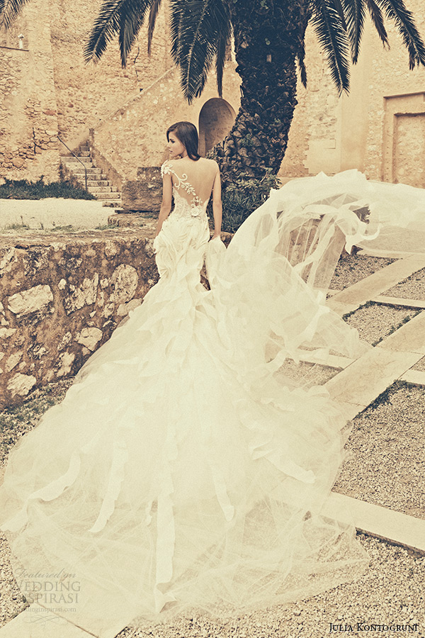 julia kontogruni bridal 2015 wedding dress one shoulder jeweled strap sweetheart neckline embroidered mermaid gown cathedral train back