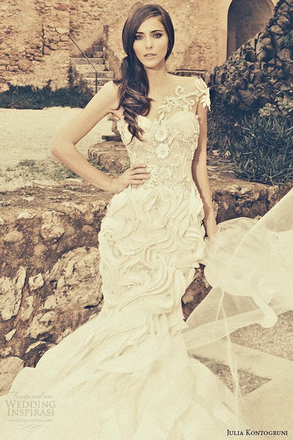 julia kontogruni bridal 2015 wedding dress one shoulder jeweled strap sweetheart neckline embroidered mermaid gown cathedral train closeup