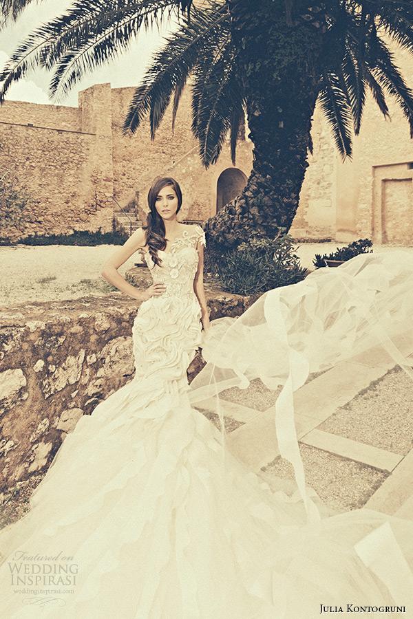 julia kontogruni bridal 2015 wedding dress one shoulder jeweled strap sweetheart neckline embroidered mermaid gown