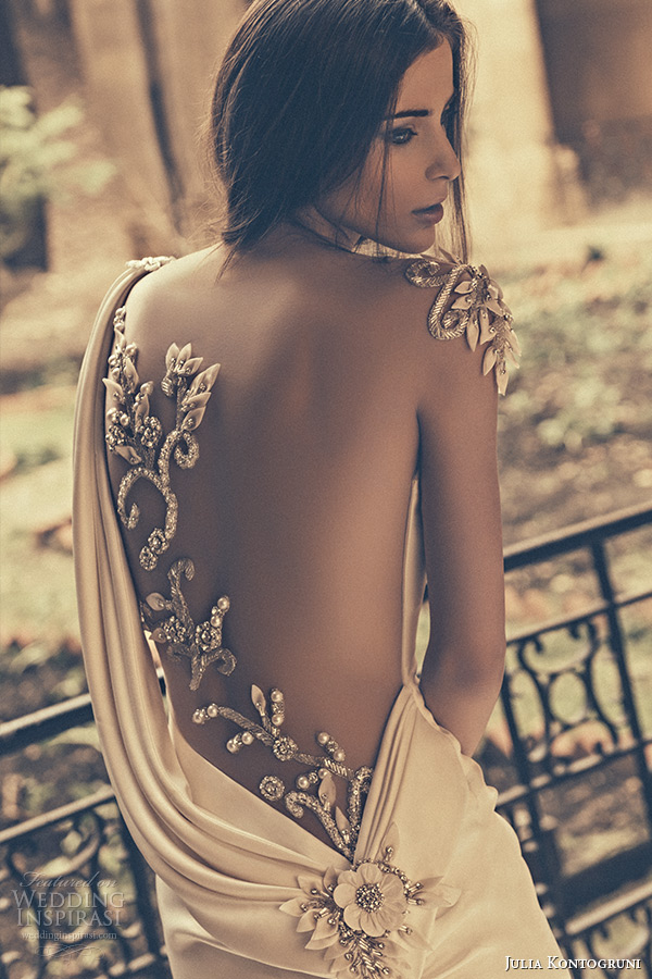 julia kontogruni bridal 2015 wedding dress one shoulder sheer embroidered beaded back fit and flare gown back closeup 2