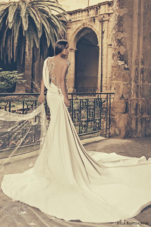 julia kontogruni bridal 2015 wedding dress one shoulder sheer embroidered beaded back fit and flare gown back