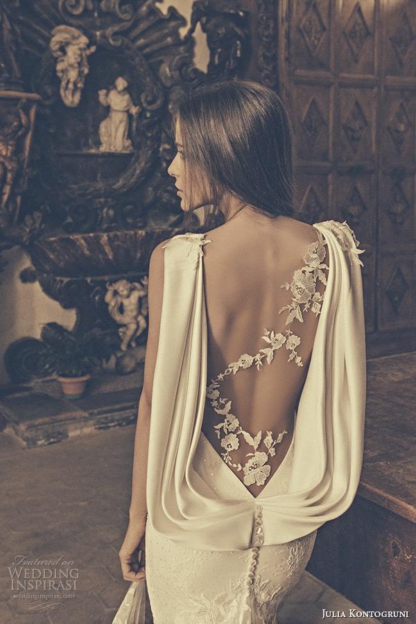 julia kontogruni bridal 2015 wedding dress one shoulder sheer lace sleeveless sweetheart neckline mermaid gown chapel train back closeup