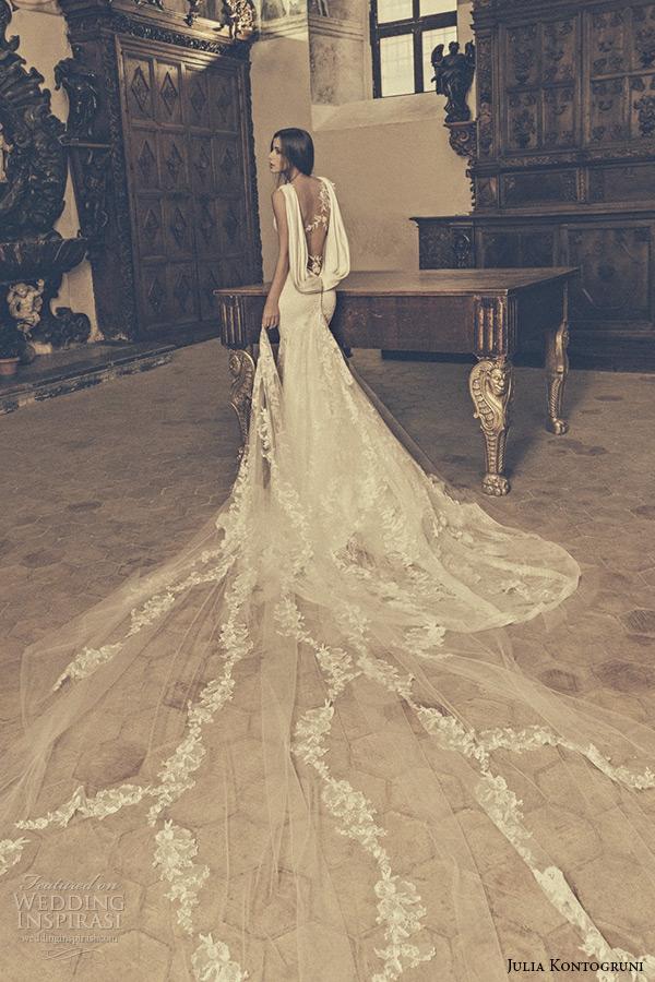 julia kontogruni bridal 2015 wedding dress one shoulder sheer lace sleeveless sweetheart neckline mermaid gown chapel train back