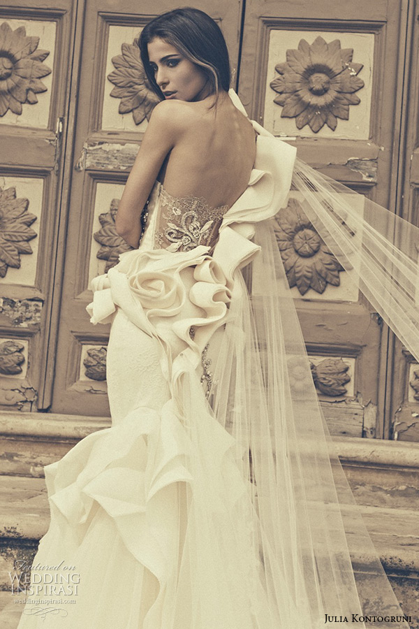 julia kontogruni bridal 2015 wedding dress one shoulder sweetheart neckline floral waist low cut back mermaid gown back closeup