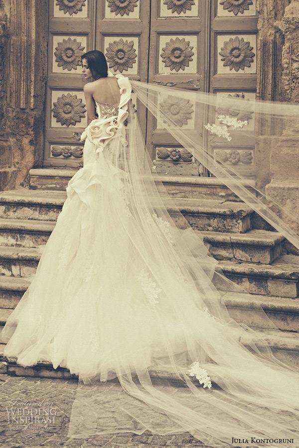 julia kontogruni bridal 2015 wedding dress one shoulder sweetheart neckline floral waist low cut back mermaid gown back