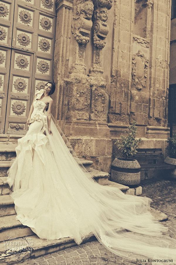 julia kontogruni bridal 2015 wedding dress one shoulder sweetheart neckline floral waist low cut back mermaid gown catherdral train