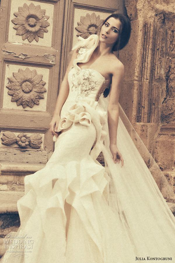 julia kontogruni bridal 2015 wedding dress one shoulder sweetheart neckline floral waist mermaid gown closeup
