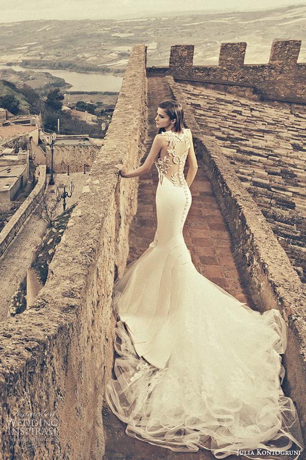 julia kontogruni bridal fall 2015 wedding dress jeweled filigree sheer low cut back mermaid gown