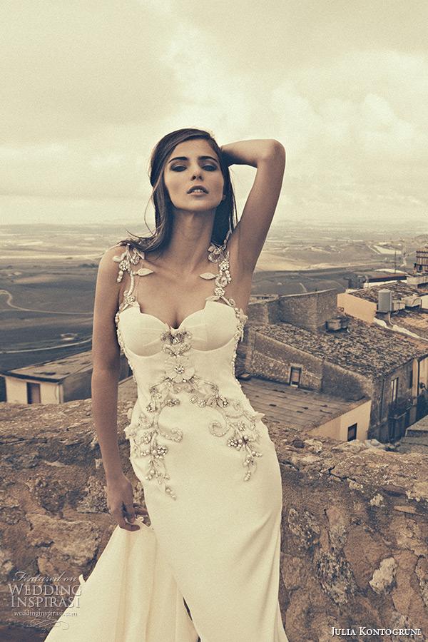 julia kontogruni bridal fall 2015 wedding dress jeweled strap bustier bodice sheath gown train closeup