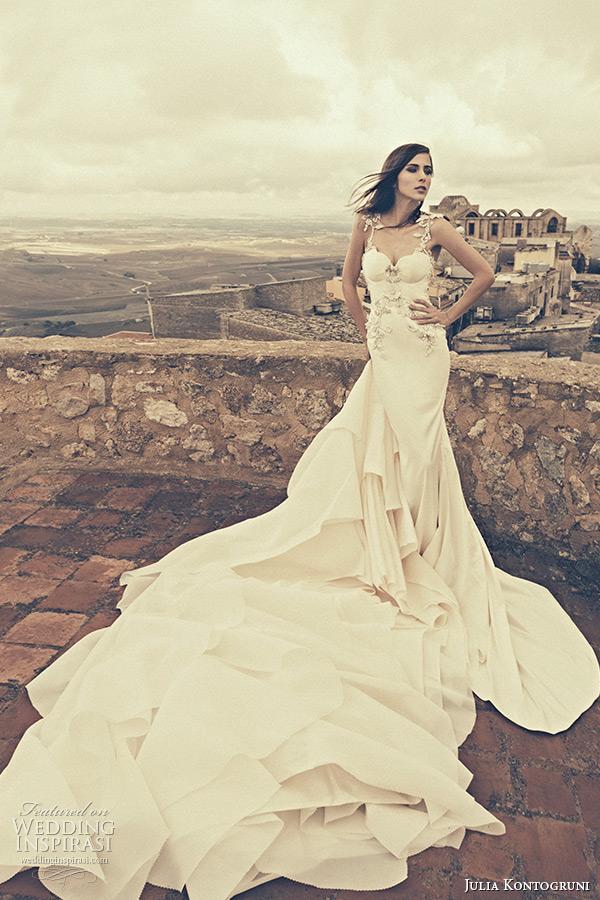 julia kontogruni bridal fall 2015 wedding dress jeweled strap bustier bodice sheath gown train