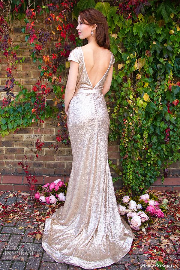 margo stankova 2015 bridal wedding dresses cap sleeves gold sequinned sheath gown low back matte finish johanna back