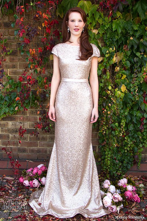 margo stankova 2015 bridal wedding dresses cap sleeves gold sequinned sheath gown low back matte finish johanna