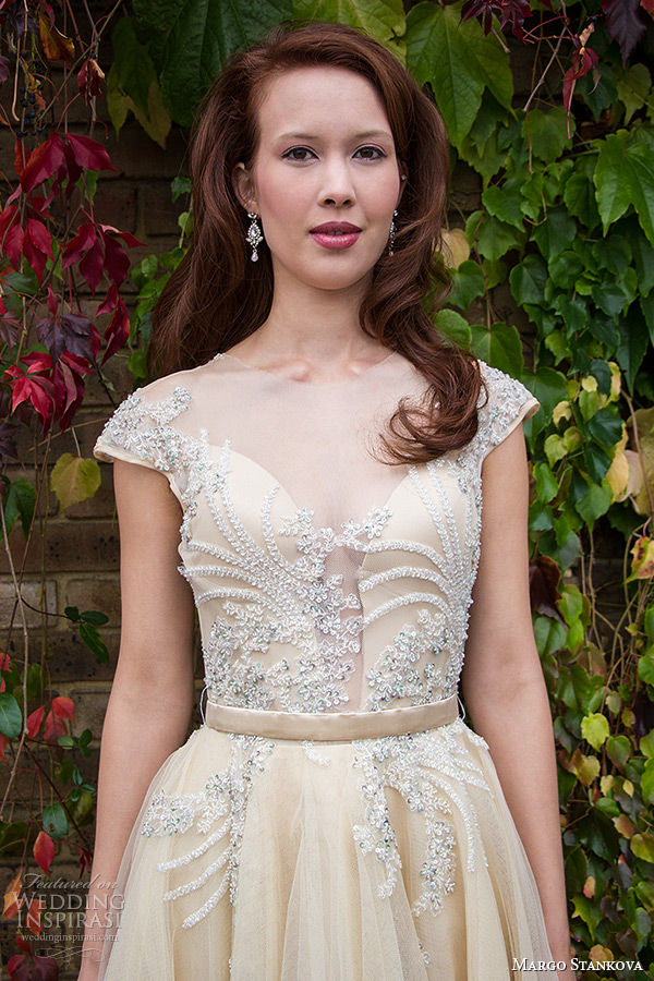 margo stankova 2015 bridal wedding dresses cap sleeves sheer plunging neckline beaded lace silk organza short tea length gown dorota closeup
