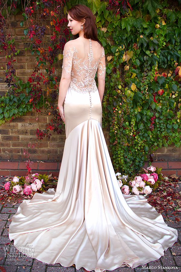 margo stankova 2015 bridal wedding dresses illusion half sleeves oyster gold sweetheart neckline beaded lace sheer low back sheath wedding gown mairei back