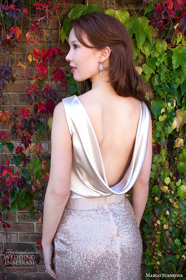 margo stankova 2015 bridal wedding dresses sleeveless draped neckline shimmering golden top gold sequinned skirt matte finish johanna skirt back closeup