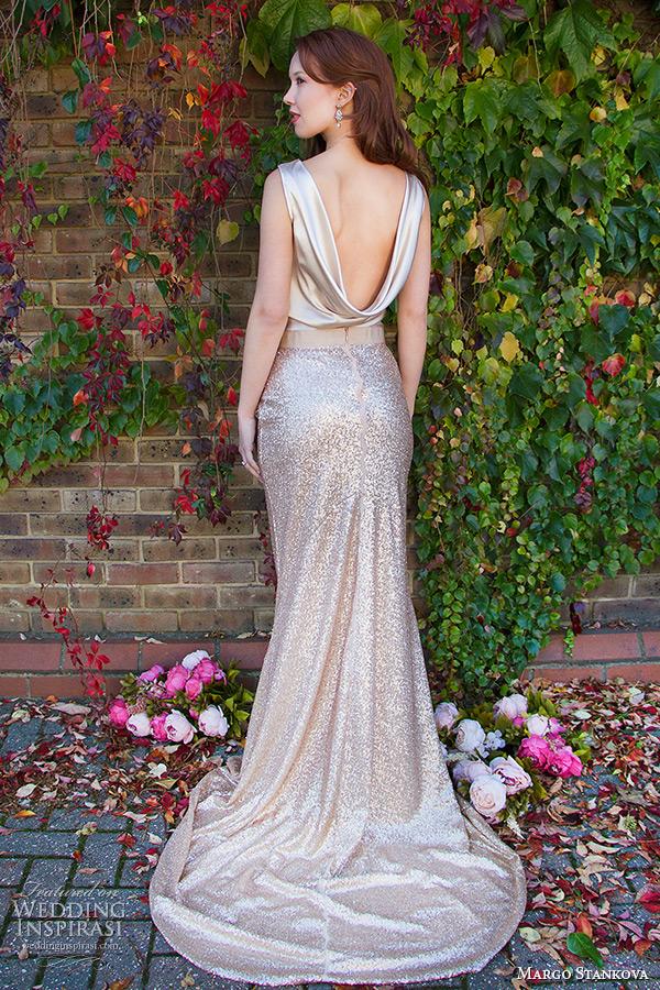 margo stankova 2015 bridal wedding dresses sleeveless draped neckline shimmering golden top gold sequinned skirt matte finish johanna skirt back