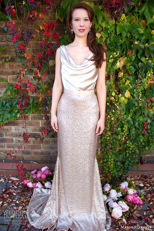 margo stankova 2015 bridal wedding dresses sleeveless draped neckline shimmering golden top gold sequinned skirt matte finish johanna skirt