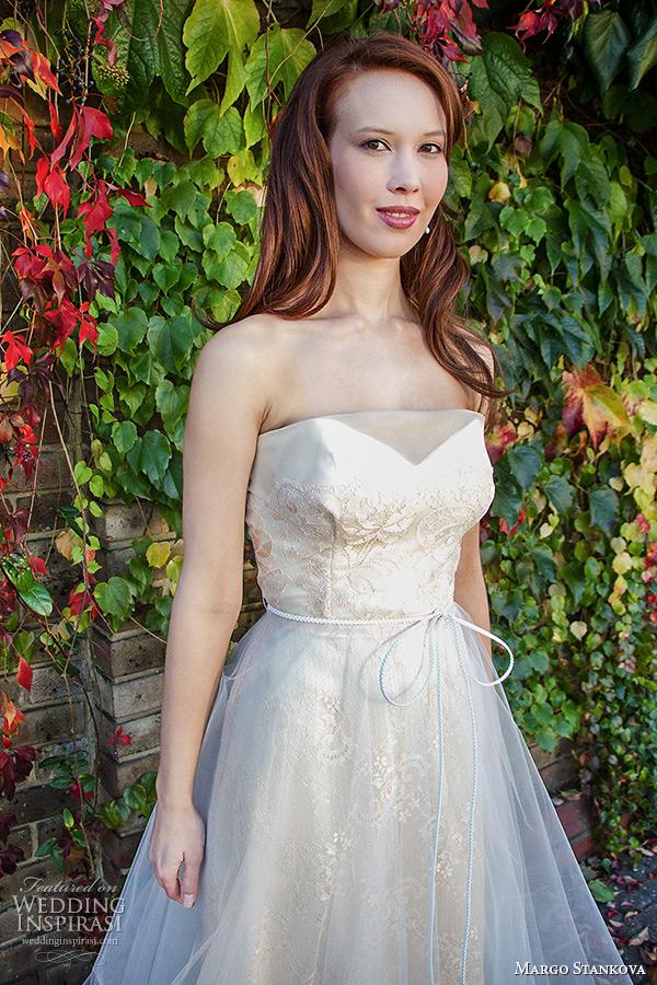 margo stankova 2015 bridal wedding dresses strapless sweetheart neckline shell pink lace silk organza tullet net wedding gown roselette closeup