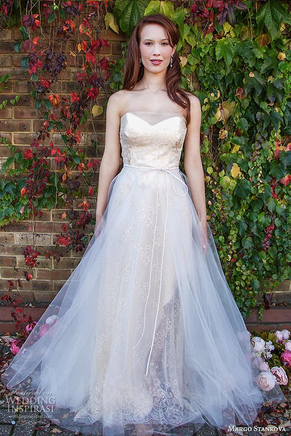 margo stankova 2015 bridal wedding dresses strapless sweetheart neckline shell pink lace silk organza tullet net wedding gown roselette