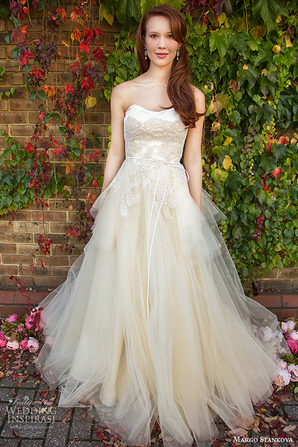 margo stankova 2015 bridal wedding dresses strapless sweetheart neckline spale peach tullet net beaded lace a line gown peony