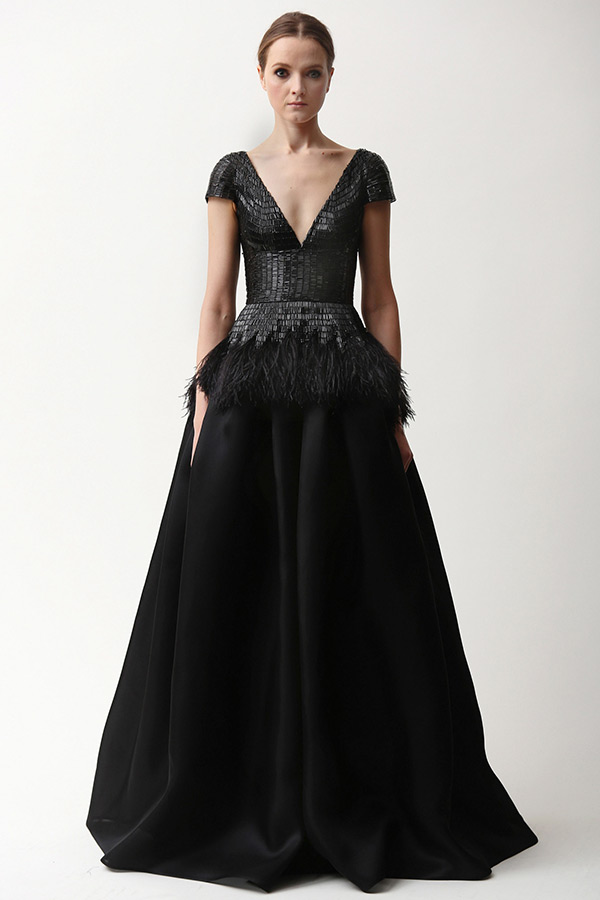 naeem khan prefall 2015 couture dresses black v shape plunging neckline cap sleeves a line gown