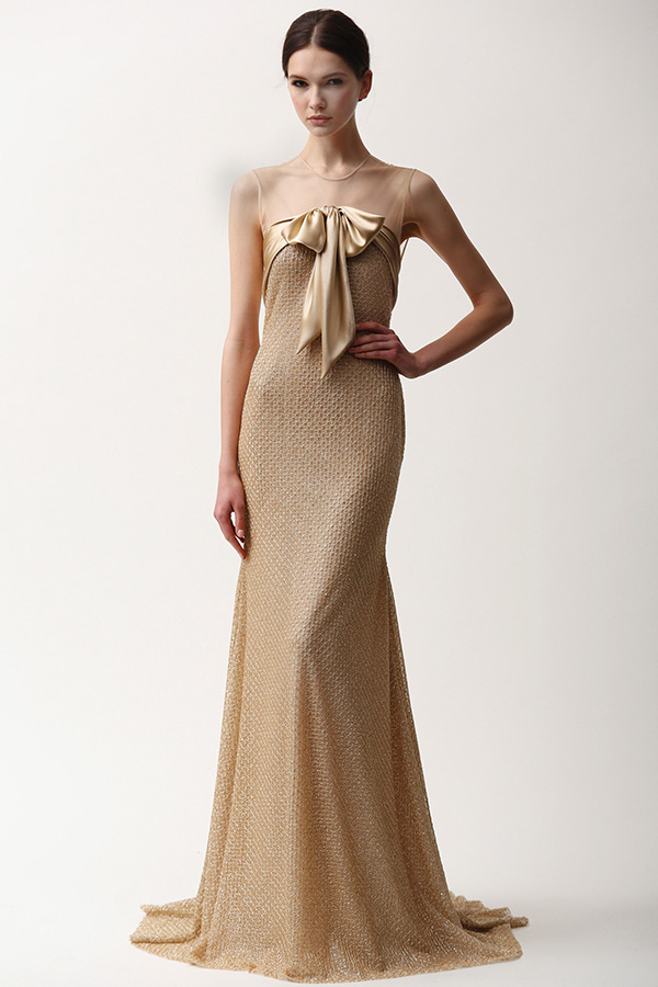 naeem khan prefall 2015 couture dresses sheer neckline gold sheath gown