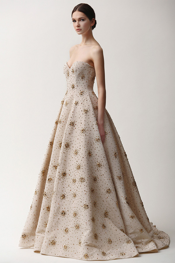 naeem khan prefall 2015 couture dresses strapless sweetheart neckline beaded embroidery ball gown