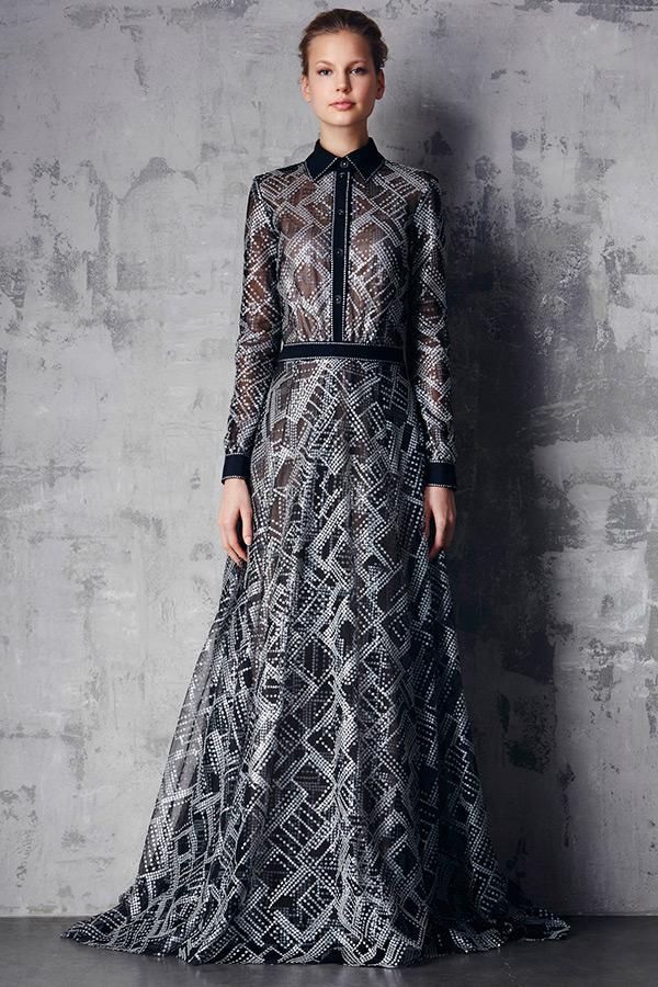 tadashi shoji prefall 2015 dresses button shirt long sleeves sheer ...