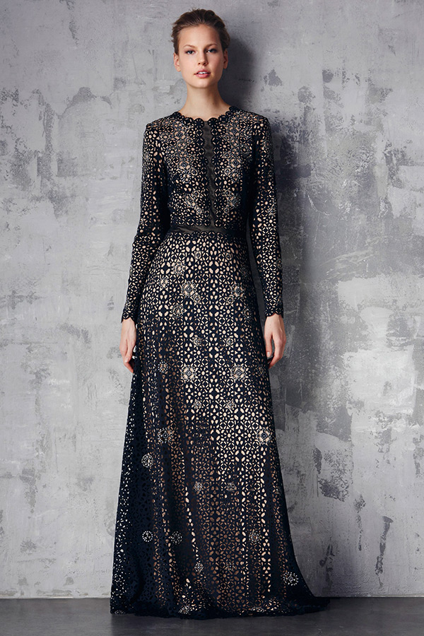 tadashi shoji prefall 2015 dresses jewel scalloped neckline long sleeves button top pattern black dress
