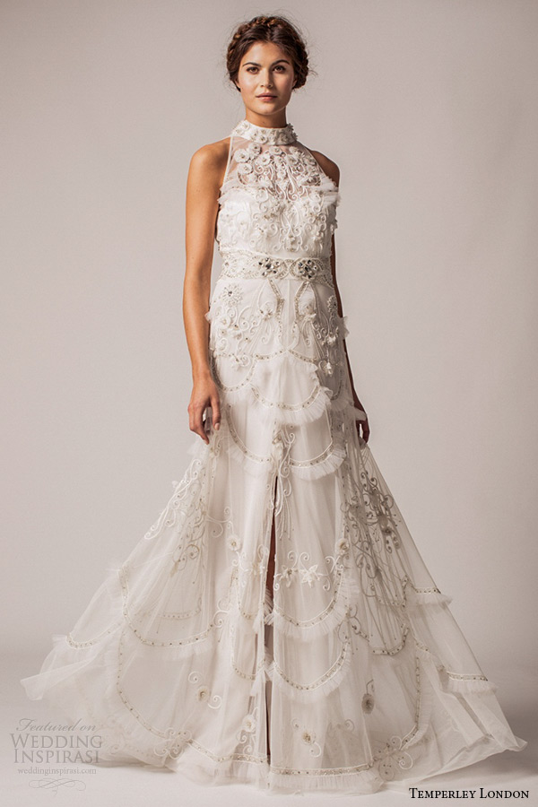 Temperley London Bridal Fall Winter 2015 Wedding Dress Halter Neck A Line Gown Lilac