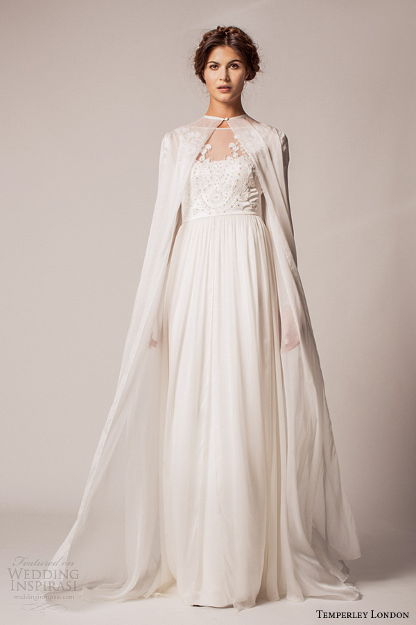 Temperley London Fall Winter 2017 Wedding Dress Bridal Bateau Neckline Short Sleeves Empire Gown Saffron With