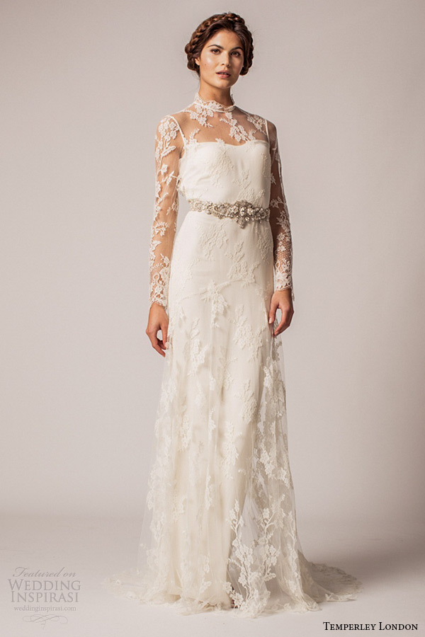 lace column wedding dress