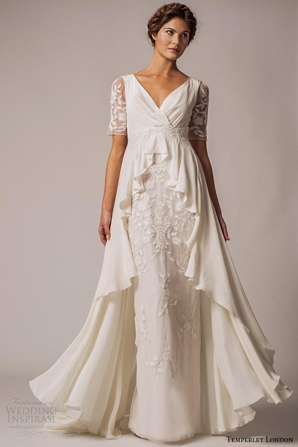 Half Sleeve Wedding Dress 18 Popular temperley london winter wedding