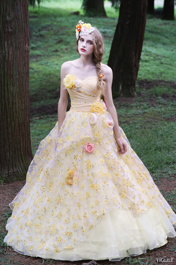 tiglily 2015 bridal amore japan romantic yellow colored strapless ball gown wedding dress style c140