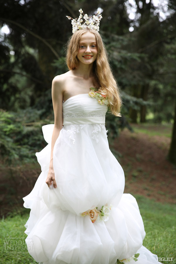 tiglily 2015 bridal amore japan strapless wedding dresse empire waist romantic bubble skirt style w300