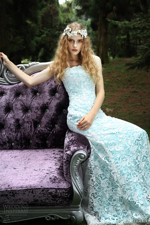 tiglily 2015 bridal amore japanese wedding dress romantic pastel pale blue white lace strapless gown style c131