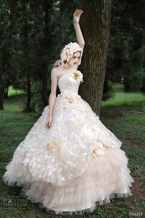 tiglily 2015 by bridal amore japanese romantic strapless colored ball gown wedding dress styles c126