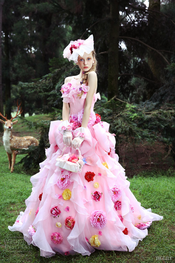 Amore japan white pink wedding dress romantic ball gown style c