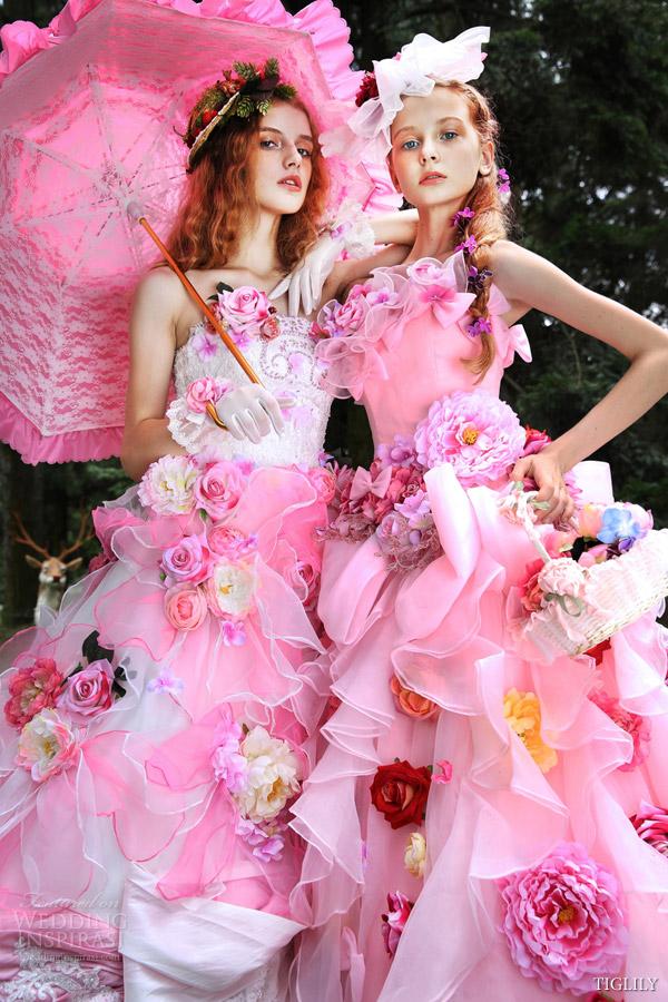 White Pink Wedding Dresses