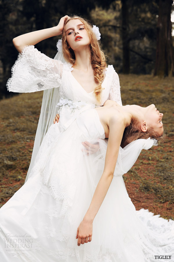 tiglily spring summer 2015 bridal amore japanese angel amore japan romantic wedding dresses lace sleeves style w307 w308