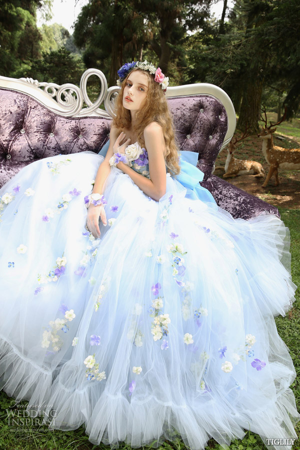tiglily spring summer 2015 bridal amore japanese romantic lavender floral strapless ball gown wedding dress style c129