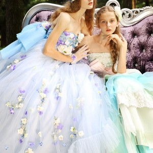 tiglily spring summer 2015 bridal amore japanese romantic lavender mint strapless ball gown wedding dress style c129 c128