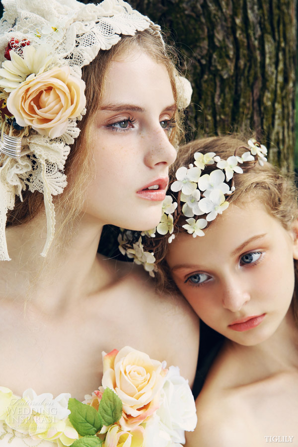 tiglily spring summer 2015 japan angel wedding dress romantic ball gown close up floral headpiece campaign