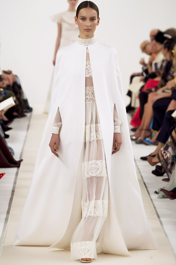 valentino sala bianca couture dresses high neck sheer long sleeves gown with cape