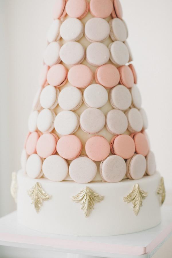 wedding cakes modern pastel color peach pale pink macaron tower cake